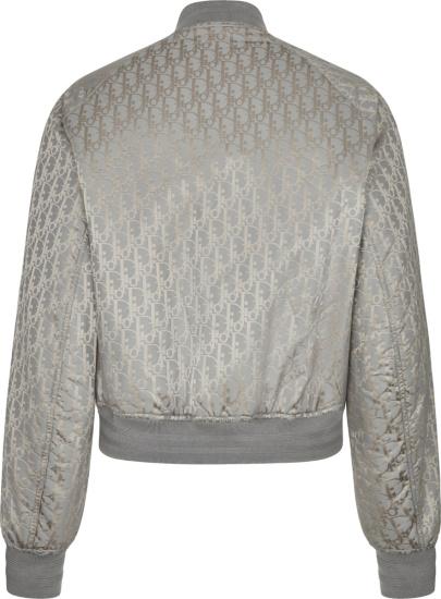 Dior Silver Grey Allover Oblique Bomber Jacket