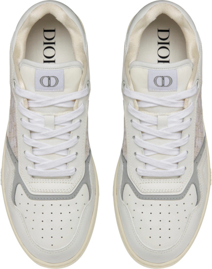Dior White And Beige Oblique B27 Low Top Sneakers