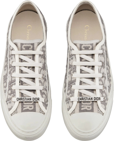 Dior White And Grey Oblique Knit Low Top Sneakers