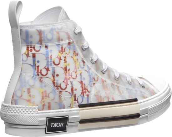 Dior White And Multicolor High Top Sneakers