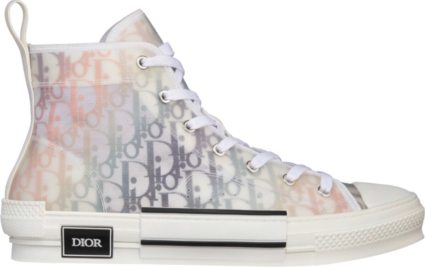 Dior White And Multicolor Oblique Canvas High Top Sneakers