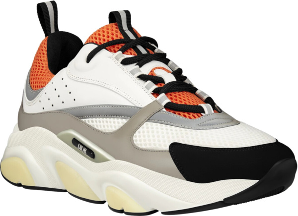 Dior White And Orange B22 Sneakers