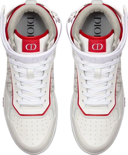 Dior White And Red Galaxy Oblique B27 High Top Sneakers