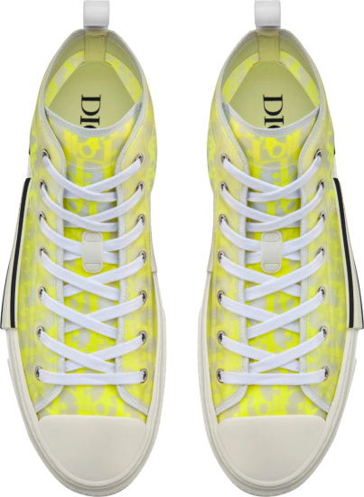 Dior White And Yellow High Top Oblique B23 Sneakers