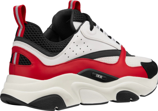 Dior White Black Mesh Red Leather Sneakers