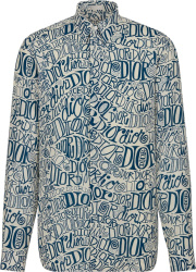 Dior White Blue Allover Wavy Logo Print Shirt