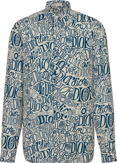 Dior White Blue Allover Wavy Logo Print Shirt