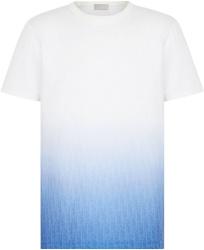White & Blue Gradient Oblique T-Shirt