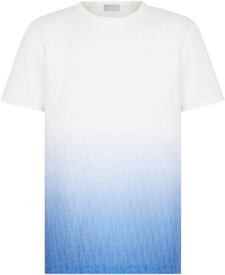 Dior White Blue Gradient T Shirt
