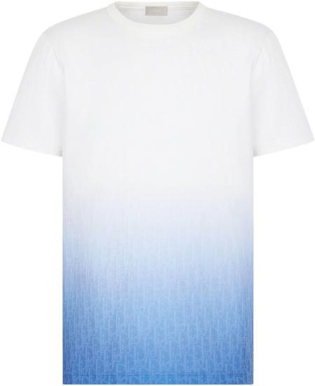 Dior White Blue Gradient T Shirt