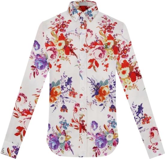 Dior White Floral Print Shirt
