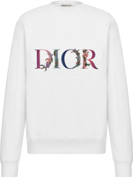 Dior White Flowers Logo Embroidered Sweatshirt