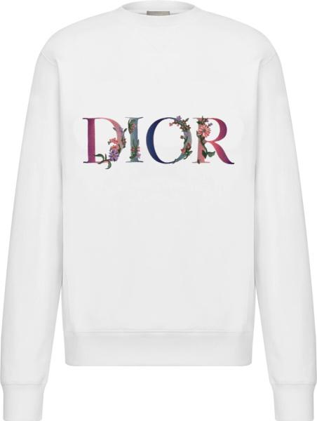 Dior White Flowers Logo Embroidered Sweatshirt