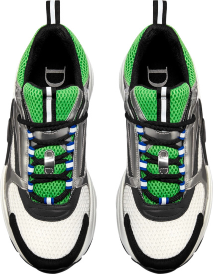 Dior White Green Silver Blue B22 Sneakers