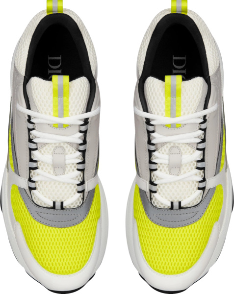 Dior White Grey Yellow B22 Sneakers