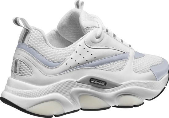 Dior White Mesh And Silver B22 Sneakers