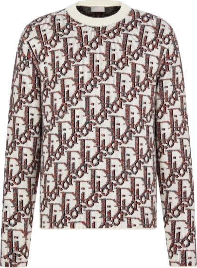Dior White Multicolor Oblique Jacquard Crewneck Sweater