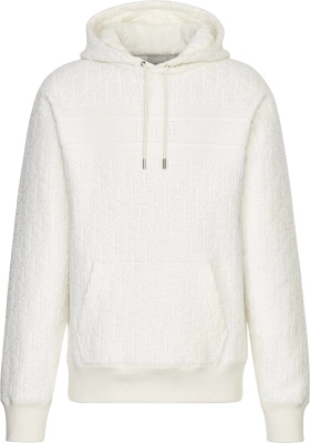 Dior White Oblique Terry Cotton Hoodie