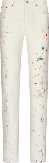 Dior White Paint Splatter Jeans 013d001by997 C070