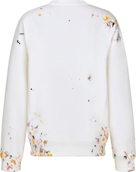 Dior White Paint Splatter Sweatshirt