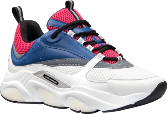 Dior White Pink And Blue B22 Sneakers