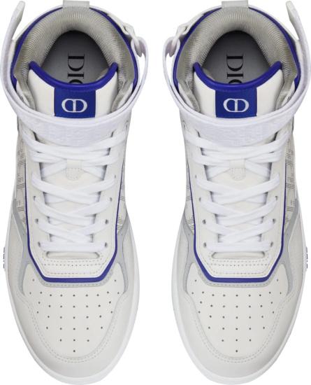 Dior White Purple Trim Galaxy Oblique High Top Sneakers