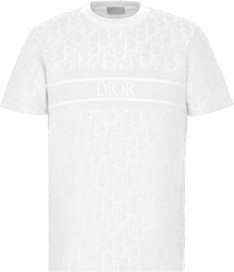 Dior White Terry Cotton Oblique Logo Stripe T Shirt