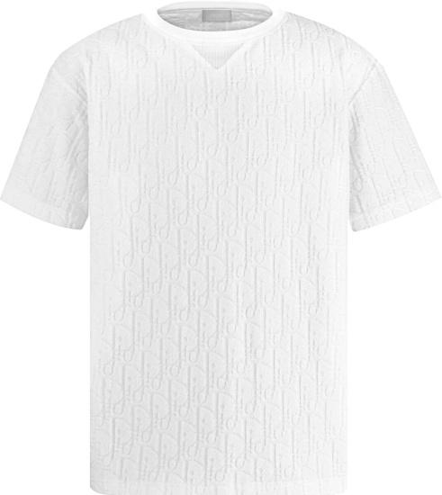 Dior White Terry Cotton Oblique T Shirt 113j692a0614 C020
