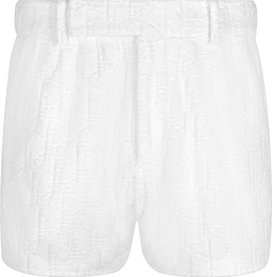 Dior White Terry Oblique Cotton Shorts