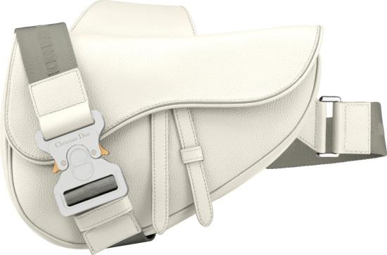Dior X 1017 Alyx 9sm White Leather Saddle Bag
