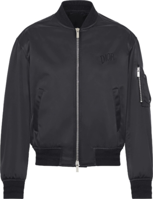 Dior X Alex Foxton Black Satin Bomber Jacket