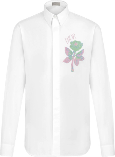 Dior X Alex Foxton Rose Embroidered White Shirt