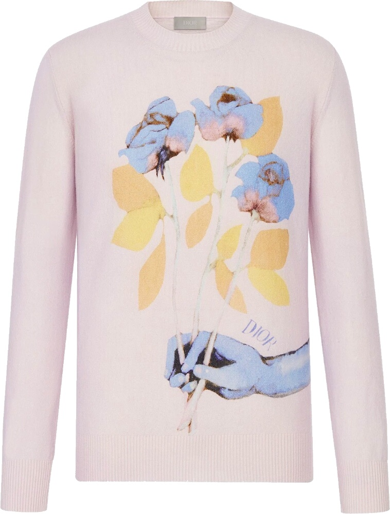 Dior x Alex Foxton Rose Print Pink Sweater