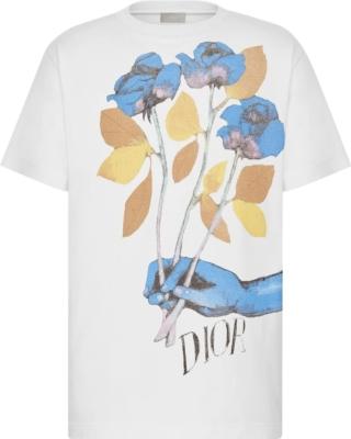 Dior X Alex Foxton Rose Print White T Shirt