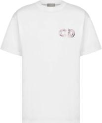 Dior X Daniel Arsham Eroded Basketball Print Whtie T Shirt