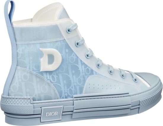 Dior X Daniel Arsham Light Blue Oblique B23 High To Sneakers