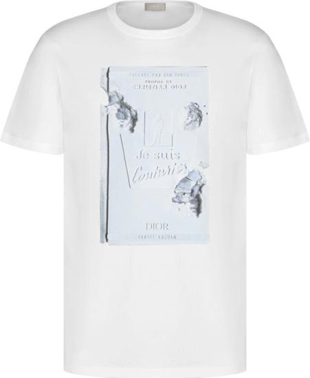 Dior X Daniel Arsham White Book Cover Print T Shirt