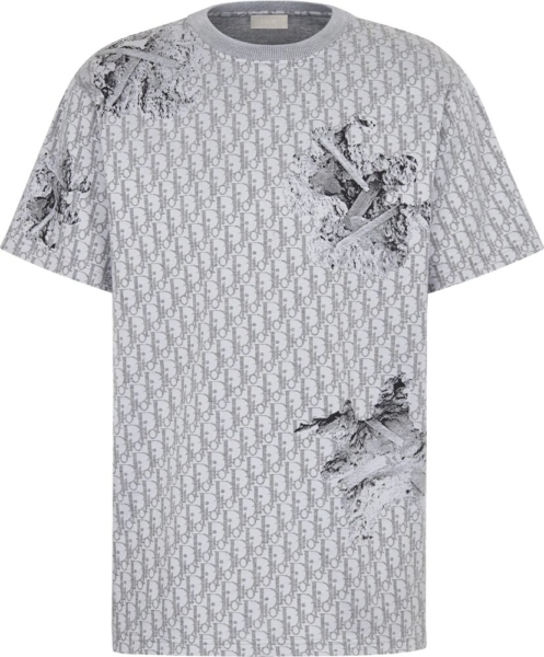 Dior X Daniel Asham Oblique Eroded Grey T Shirt