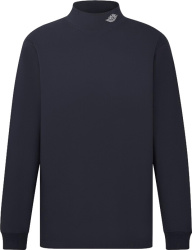 Dior X Jordan Navy Air Dior Mock Turleneck Long Sleeve T Shirt