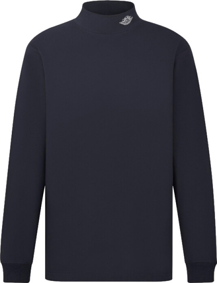 Dior X Jordan Navy Air Dior Mock Turleneck Long Sleeve T Shirt