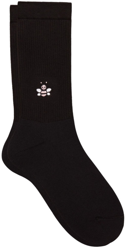 Dior X Kaws Black Socks With Pink Embroidered Bee Worn By Lil Uzi Vert