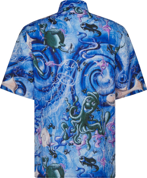 Dior X Kenny Scharf Blue Swirl Oblique Sea Life Shirt
