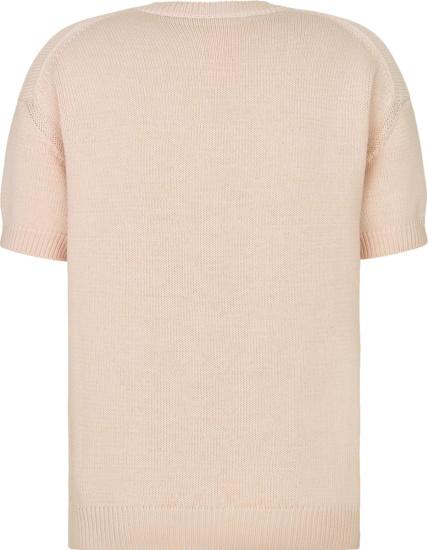 Dior X Kenny Scharf Light Pink Short Sleeve Logo Embroidered Sweater