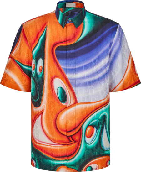 Dior X Kenny Scharf Multicolor Swirl Print And Oblique Shirt