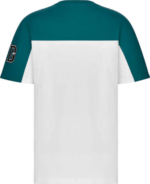 Dior X Kenny Scharf White And Teal Varsity Logo T Shirt