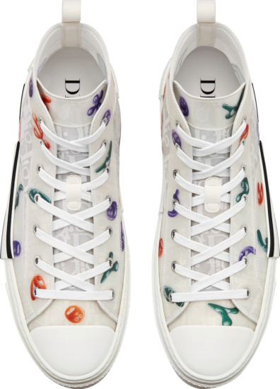 Dior X Kenny Scharf White Oblique High Top B23 Sneakers