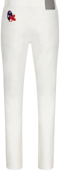 Dior X Kenny Scharf White Oblique Jeans