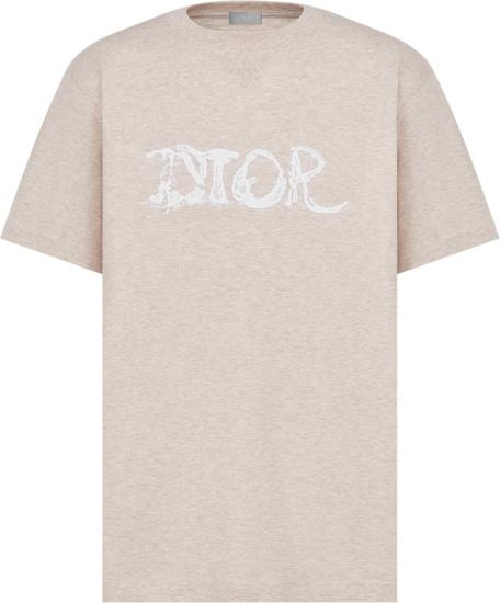 Dior X Peter Doig Beige And White Logo Emboridered T Shirt 143j685c0677 C180