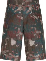 Dior X Peter Doig Burgundy Camoufage Print Shorts