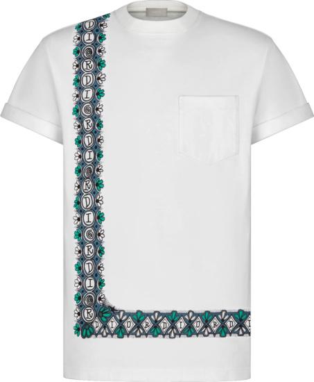 Dior X Shawn Border Print White T Shirt